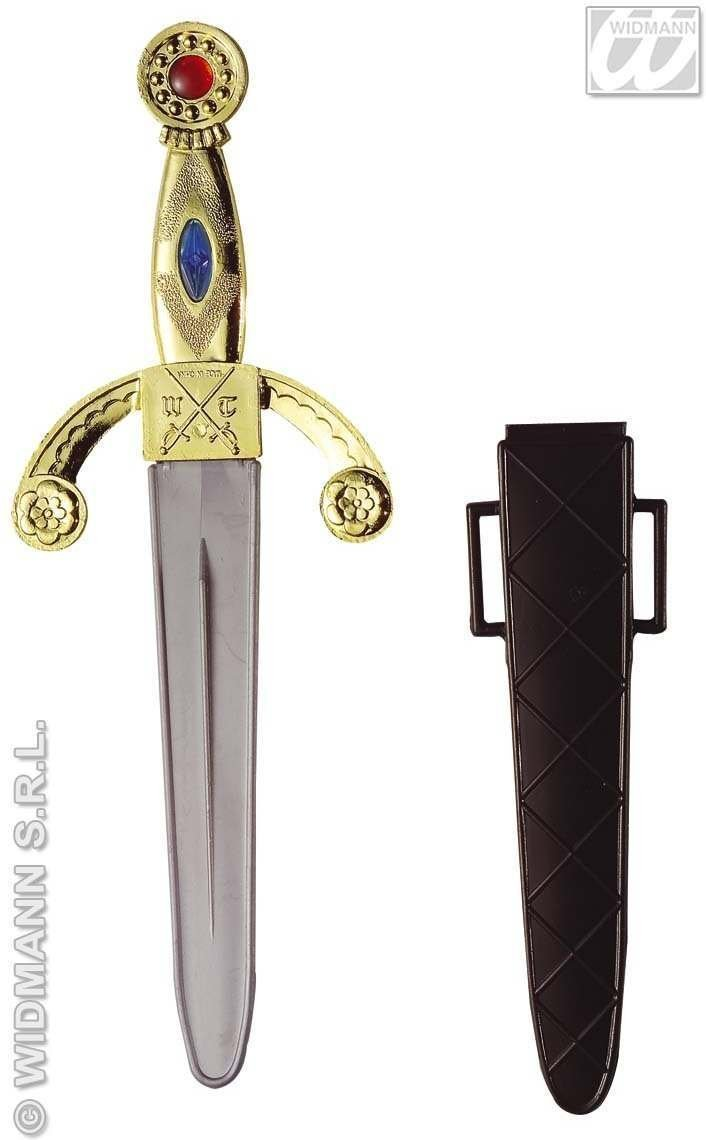"""10/"""" Jewelled Plastic Dagger In Sheath Fancy Dress 10 Accessory Weapon Indian"""