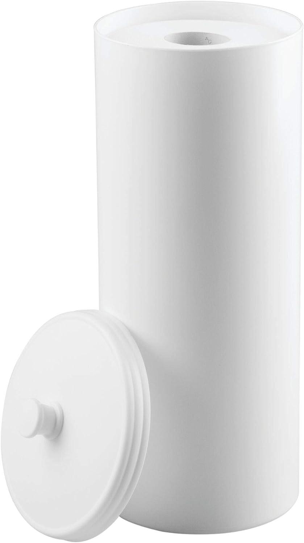 mDesign Dispensador de papel higiénico sin taladro – Decorativo portarrollos de pie – Discreto almacenaje de baño con tapa - Para 3 rollos de papel higiénico – Plástico resistente - Blanco