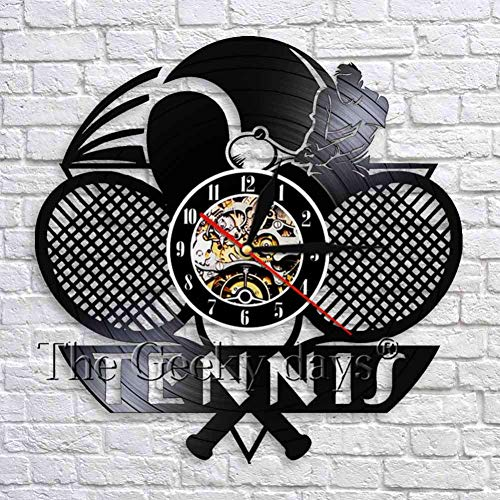 ClockHM Tennis Art Orologio da Parete in Vinile Orologio da Parete Palla da Parete Arte Tennis Orologio da Parete in Vinile Favore Festa Decorazione Sport Room