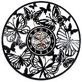 LKJHGU Estilo Retro Disco de Vinilo Reloj de Pared diseño Moderno Mariposa decoración de la Sala de Estar Reloj único Reloj de Pared Sala de Estar decoración del Dormitorio Mudo