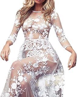 02541de73d XILALU Women Lace Crochet One-Piece Lingerie Bodysuit Alluring Floral  Perspective Beach Long Dress Bikini