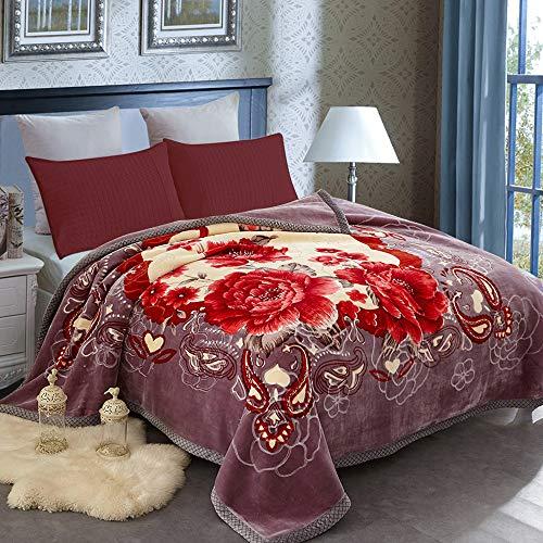 "JML Heavy Blanket Queen(79""x93"", 8lbs), Korean Style Fleece Blanket - Plush Soft Warm 2 Ply Printed Raschel Bed Blankets"