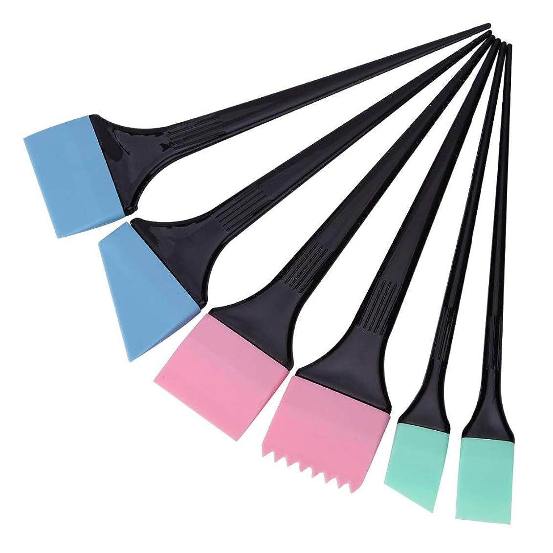 不器用ハブブメッセージヘアダイコーム&ブラシ 毛染めブラシ 6本/セット 着色櫛キット プロサロン 理髪スタイリングツール へアカラーセット グリーン