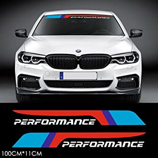 CHARMINGHORSE 2pcs M Performance 2018 Front Rear Windshield Windows Decal Stickers for BMW X1 X3 X5 X6 Z4 M3 M4 M5 (White)