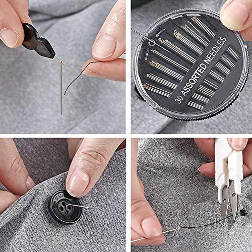 裁縫セットソーイングセット携帯式ポータブルミシンアクセサリー男女兼用家庭用大人用裁縫道具セット(イエロー)