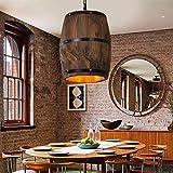 Retro Wine Barrel Wood Hanging Ceiling Lamp Lighting Fixtures Rustic Restaurant Cafe Kitchen Bar Light Crafts Pendant