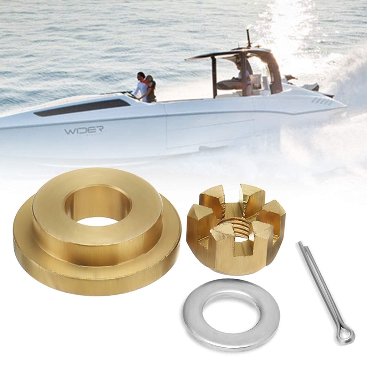 Value.Trade.Inc - 4Pcs For Yamaha 9.9-15HP Marine Propeller Hardware Kits Thrust Washer Spacer Nut Split Pin Brass Boat Parts & Accessories
