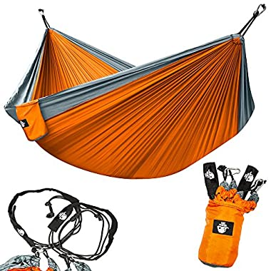 Legit Camping Double Hammock - Lightweight Parachute Portable Hammocks for Hiking, Travel, Backpacking, Beach, Yard Gear Includes Nylon Straps & Steel Carabiners (Graphite/Sunburst)