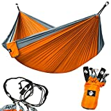 Legit Camping - Double Hammock - Lightweight Parachute Portable Hammocks for Hiking, Travel, Backpacking, Beach, Yard Gear Includes Nylon Straps & Steel Carabiners (Graphite/Sunburst)