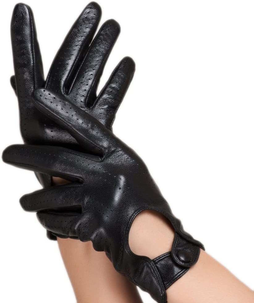 WINTER Ladies Leather Gloves, Outdoor Locomotive Driving Gloves, Black