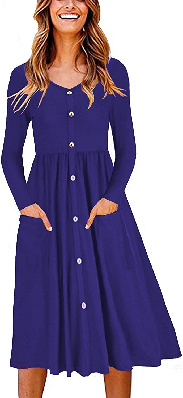 Haircloud Women's Button Down Dresses-Long Sleeve V Neck T Shirt Midi Skater Dress with Pockets