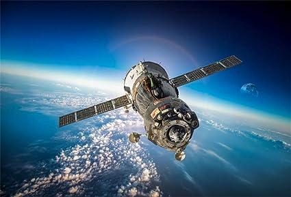 YongFoto 3x2m Vinilo Fondo de Fotografia La Nave Espacial Soyuz Sobre el Planeta Tierra Telón de Fondo Photo Booth Infantil Party Banner Niños Photo ...