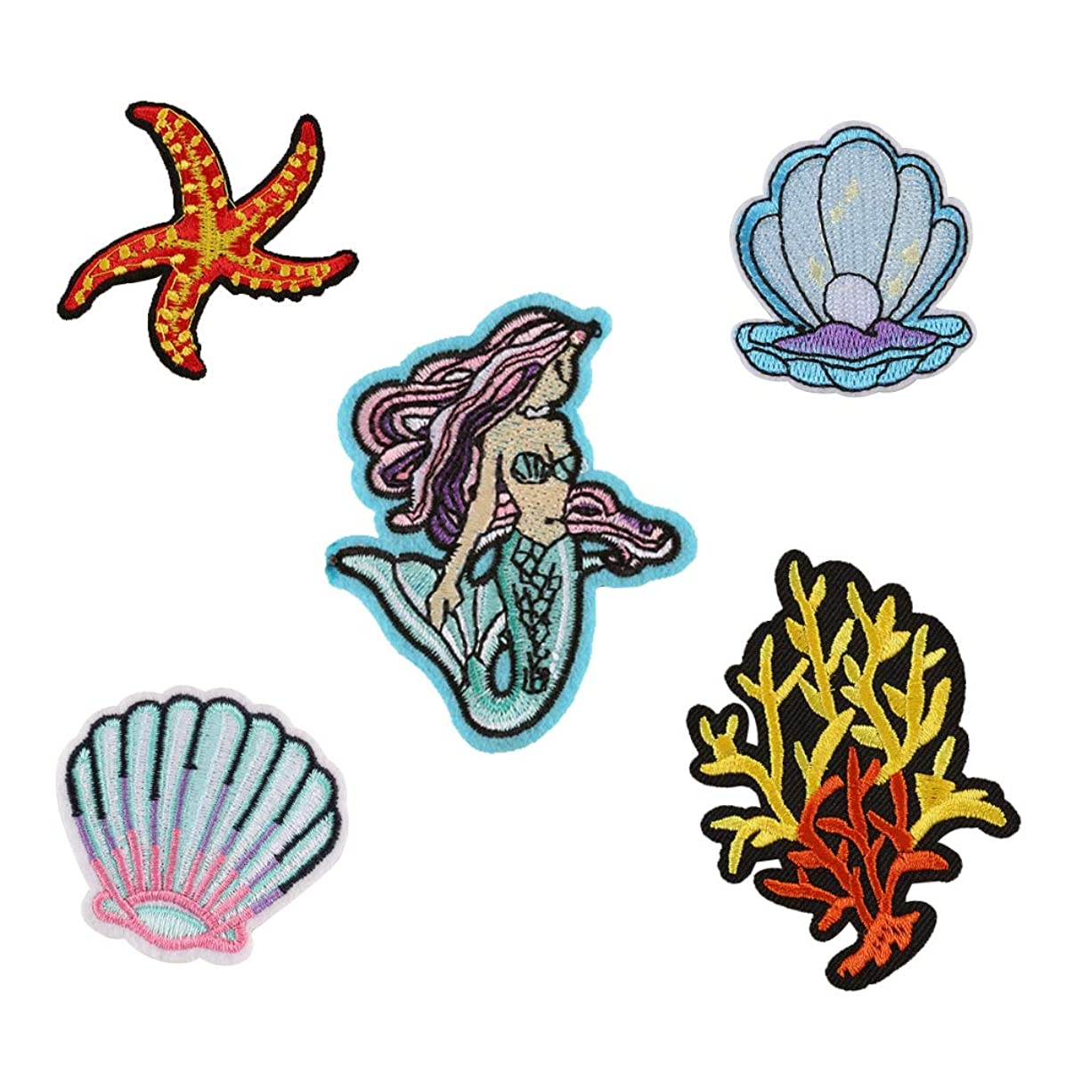 XUNHUI Clothing DIY Embroidery Iron On Patches Mermaid Shell Starfish Patch for Clothes Stickers Fabric 1 Set