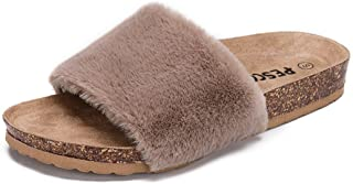 Pescool Womens Girls Faux Fur Flat Slippers Open Toe Fuzzy Slides House Sandals