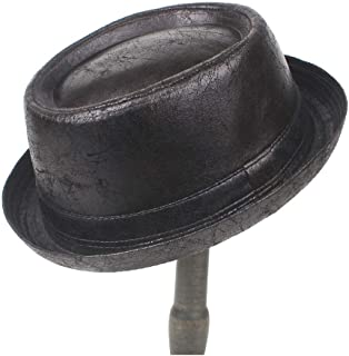 QinMei Zhou 2 Size Men Feather Pork Pie Hat Feather Fedora Hat Dad Boater Flat Top Hat For Gentleman Bowler Top Hat