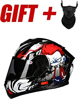 Full Face Motorcycle Helmet DOT Certified Road Racing Motorcycle Helmet Cromwell Helmet Jet Double Mirror Modular Flip Helmet Men and Women Red Printed Street Scooter Helmet (M, L, XL, XXL),L