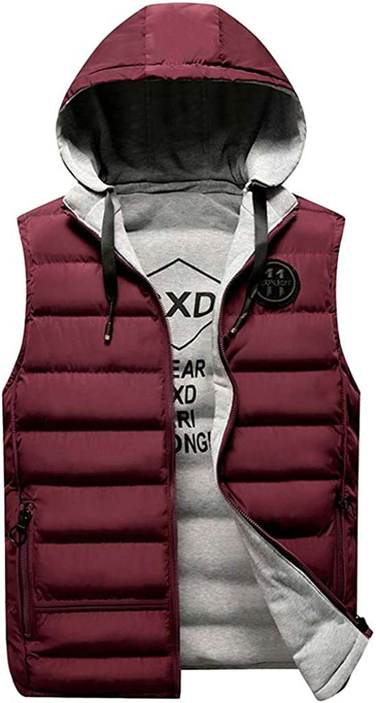 MODOQO Men's Winter Thick Warm Outdoor Padded Puffer Vest Sleeveless Jacket