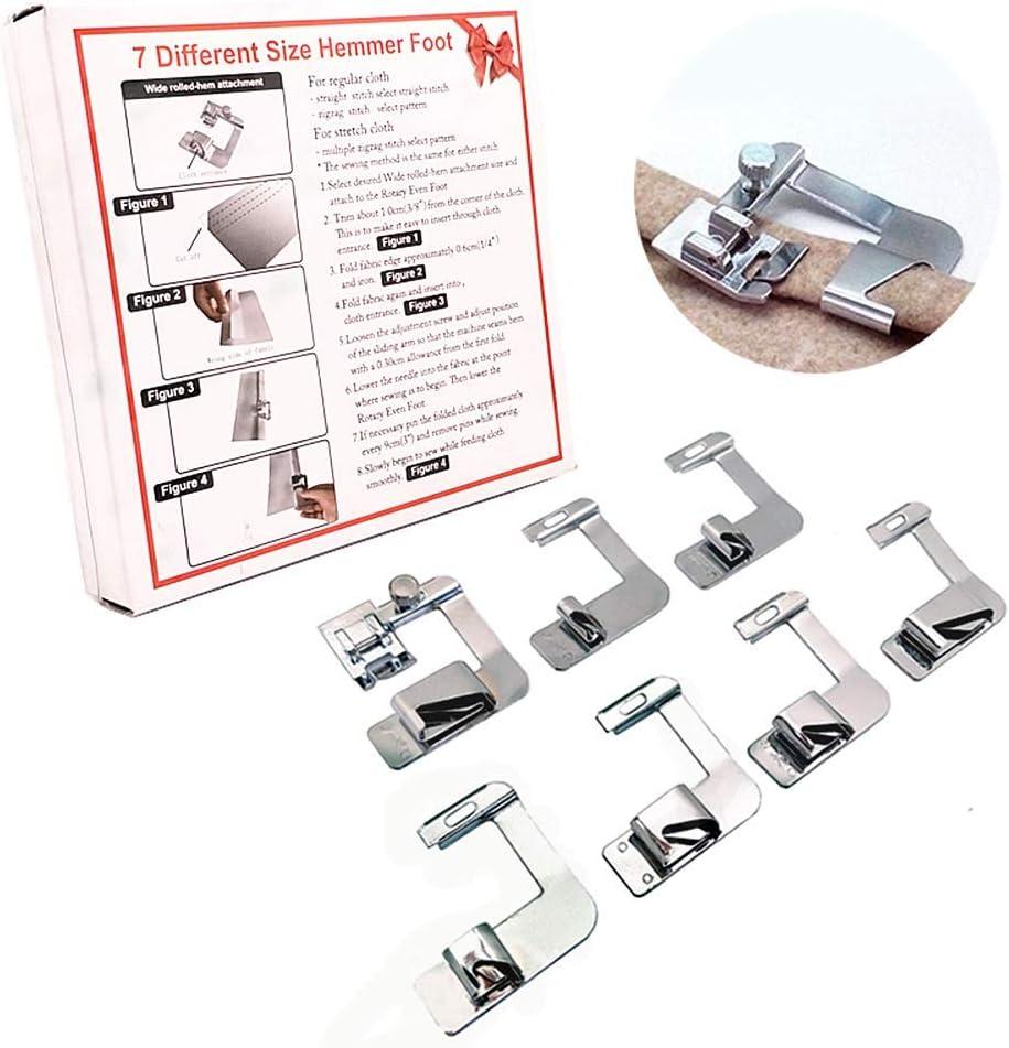 YEQIN discount 7pcs Adjustable Rolled Hem Presser Sewing Foo Machine Max 56% OFF Foot