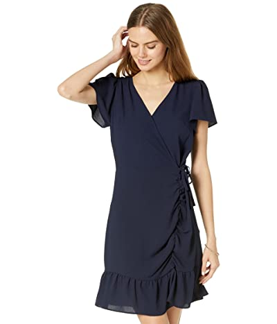 1.STATE Short Sleeve Ruched Faux Wrap Dress