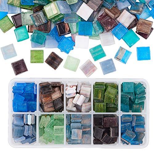 PandaHall 300 piezas de mosaico de vidrio chips de mosaico cuadrados de 10 colores para manualidades, platos, jarrones, marcos de fotos, macetas, joyería hecha a mano