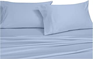 Royal's Solid Blue 300-Thread-Count 3pc Super-Single Size Waterbed-Sheets 100% Cotton, Sateen Solid Sheet Set