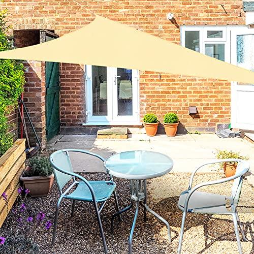 OKAWADACH Sonnensegel, Polyester Sonnensegel Sonnenschutz Garten Balkon und Terrasse wetterbeständig mit UV Schutz Windschutz für Garten Terrasse Camping(Dreieck 2 x 2 x 2m Sandbeige)