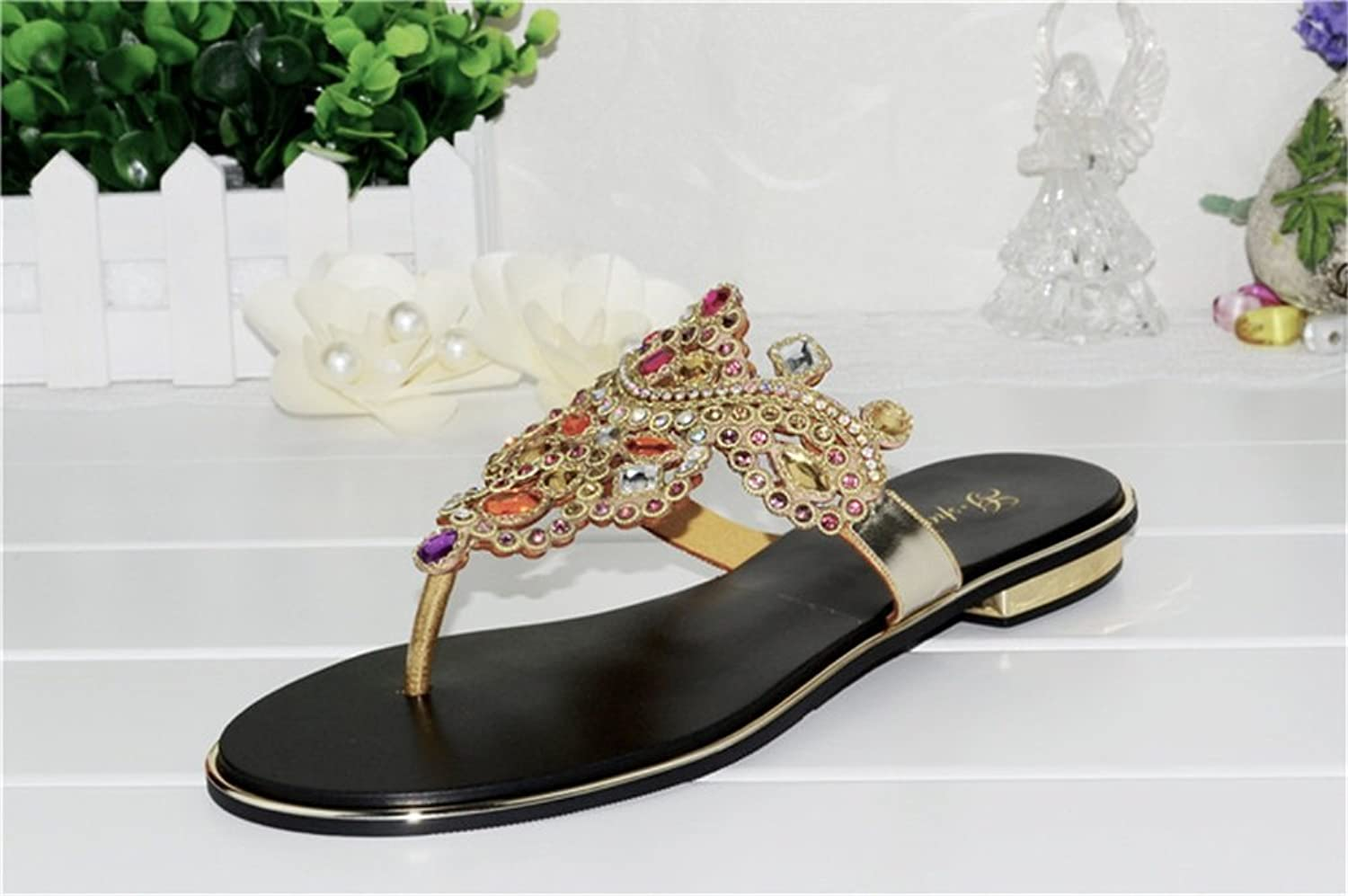 Jiang Women's shoes Leather New Spring Summer Fall Chunky Heel Rhinestone for Party & Evening Dress Sandals