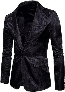 Men's Slim Fit Casual Blazer Jacket One Button Peak Lapel Collar Sport Coat Floral Printed Party Suit Jacket