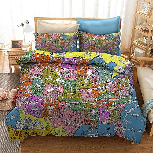 Juego de cama con funda nórdica con mapa del mundo, mapa del mundo retro 3D, damas adultas, estilo nostálgico, suave y cómodo, Cama individual cama doble textiles para el hogar-E_220x240cm (3pcs)