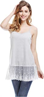 Womens Lace Trim Tunic Tank Top Layering Cami Top Extender