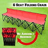 BenefitUSA Folding Team Sport Sideline Bench 6 Seater with Carry Bag (Red)