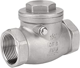 Akozon Swing Check Valve DN32 304 Stainless Steel One-Way Valve Female Thread 200PSI for Water Oil Gas