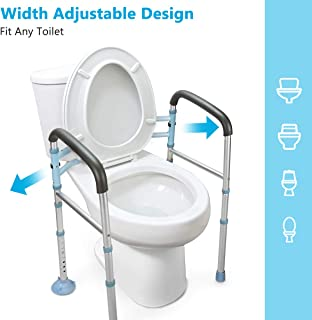 OasisSpace Stand Alone Toilet Safety Rail - Heavy Duty Medical Toilet Safety Frame for Elderly,...
