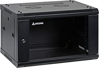 Aeons 6U Signature Wall Mount 19-inch IT Network Cabinet Enclosure Server Rack 16-inch Depth Glass Door