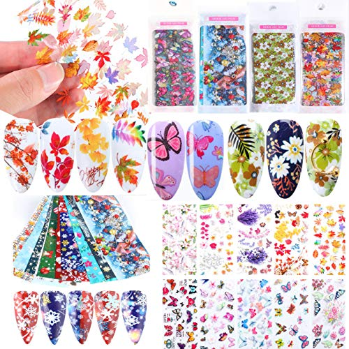 40 Sheet Nail Art Foil Transfer Sticker Paper Wrap 3D Butterfly Leaf Flowers Transfer Nail Foil Thanksgiving Christmas Nail Tips Decorations.(Thanksgiving & Christmas)