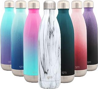 Simple Modern Wave 750ml Termo Botella Agua Acero Inoxidable, Botella termica Mantiene el Frio por 28 Horas Aislada al Vacío Doble Pared para Deporte café o Viaje Diseño: Mármol de Carrara