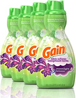Gain Liquid Fabric Conditioner (Fabric Softener), Moonlight Breeze, 41 Oz Bottles, 4 Pack, 192 Loads Total