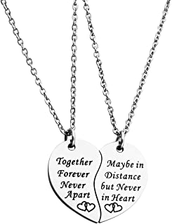 JINGMARUO BFF Necklace Set for 2 Best Friends Like Us Stay Close at Heart Set of 2 Bestie Gift Sister Necklace Long Distan...