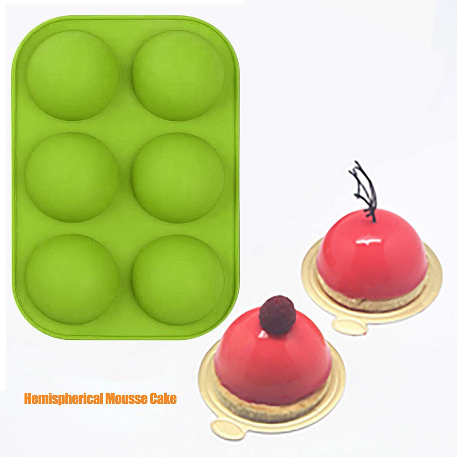 Cake Molds Cake 1 Packs 6 Shapes Medium Semi Sphere Silicone Mold Dome Mousse (Green) Baking Mold for Making Chocolate 1PC Pudding Jelly