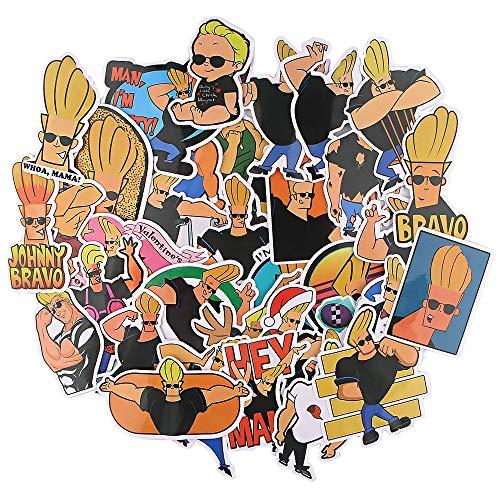 YZFCL Nueva Etiqueta engomada de la Fecha de Johnny Bravo, Coche, Bicicleta, Equipaje de Viaje, Guitarra móvil, portátil, Pegatina Impermeable, 35 Piezas