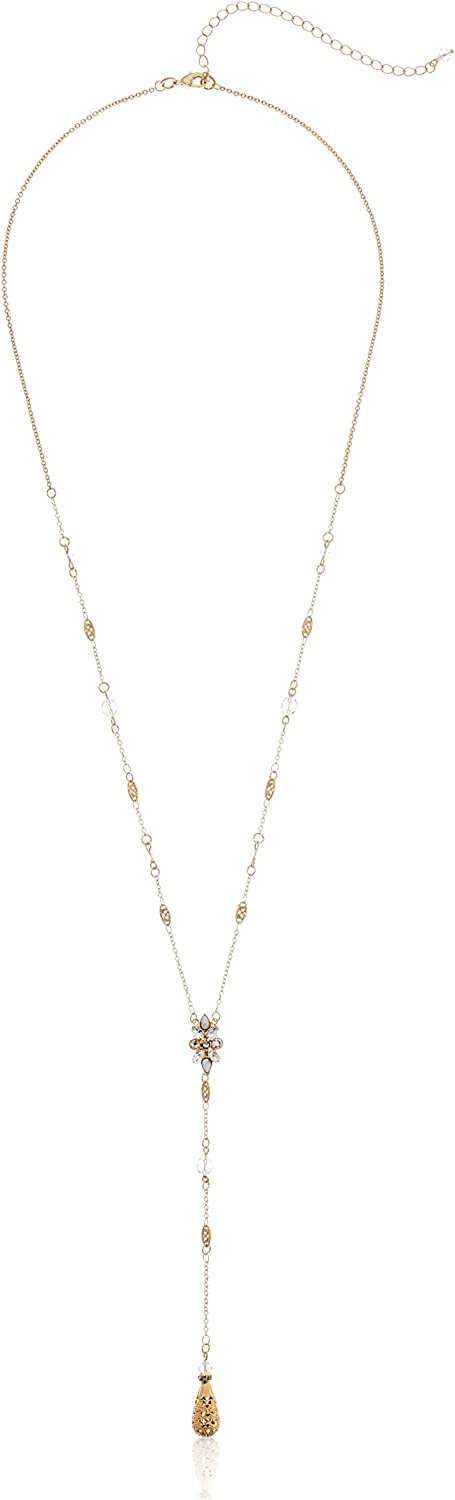 Sorrelli Core Bright Gold Crystal Celestial Filigree Y-Shaped Necklace