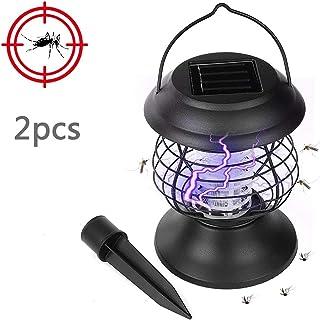 BZLEK Lámpara Antimosquitos UV con Carga Solar, Trampas para Insectos Matamoscas con Gancho Dos Modos De Iluminación, Eficiente Y Seguro, Usado para Al Aire Libre Pescar Cámping Luces De La Tienda