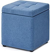 Yxsdd Footstool Storage Box Cube Pouffe Change Shoe Bench Stool Square Ottoman,Removable Linen Cover Upholstered Footrest ...