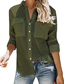 Best army green button up shirt womens Reviews