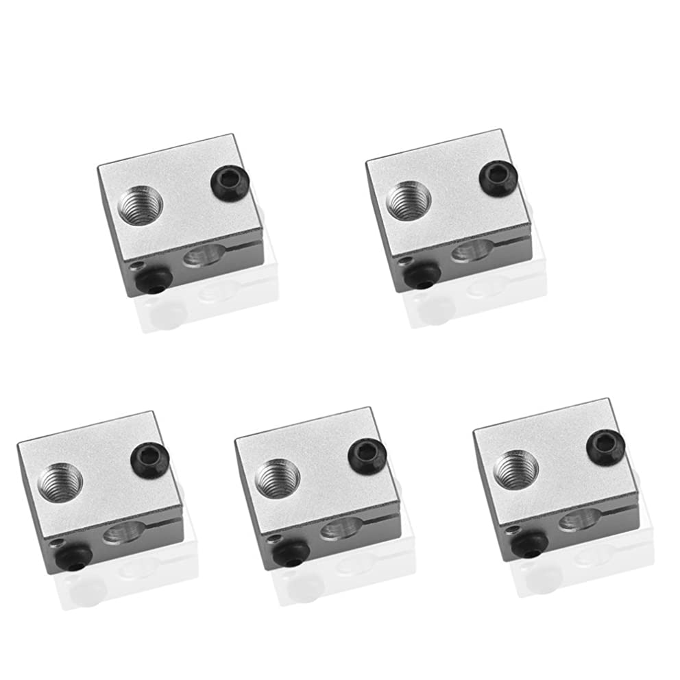 WINGONEER 5Pcs V6 Aluminum Heater Block for 3D Printer Heating Block