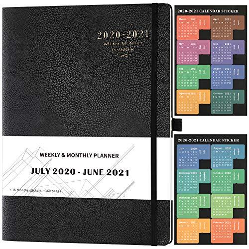 Kalender 2020 2021 - Terminplaner A4 mit Aufklebern von Juli 2020 bis Juni 2021, 24 Notizseiten, 210x297mm, Schwarz