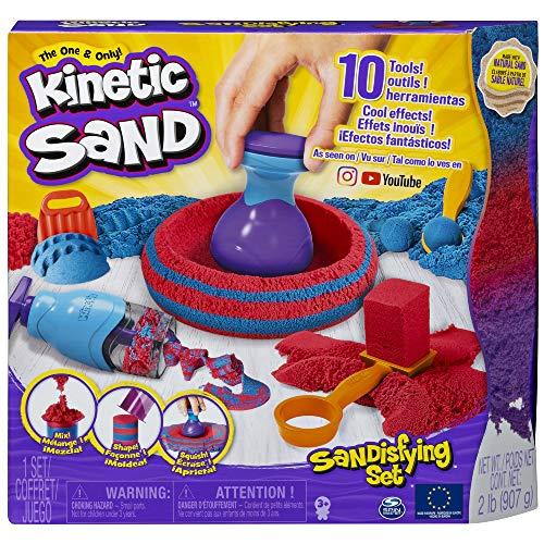Kinetic Sand - Sandisfying Set Con 907 g di Sabbia Modellabile e 10 Accessori, dai 3 Anni