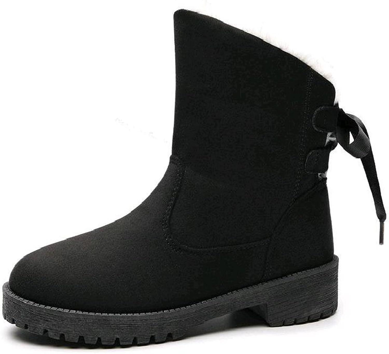 Women Winter Boots Fur Lining Warm Cotton Snow Ankle Boots Women Round Toe Winter Snow Boots ( color   Black , Size   7B(M)US )