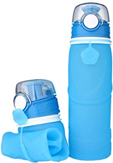 TNSHO Collapsible Silicone Water Bottle Reusable 750ml Foldable Hiking Traveling Camping Water Bottles for Outdoor & Sports