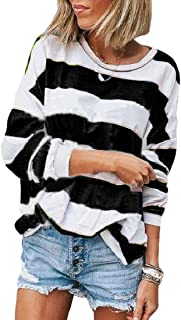 Loyomobak Women's Long Sleeve Crewneck Color Block Loose Stripe Pullover T-shirt